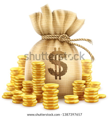 Full sack of cash money corded with rope and heaps of gold coins. Banking concept realistic icon of moneybag with dollar currency sign. Isolated on white transparent background. Vector illustration.