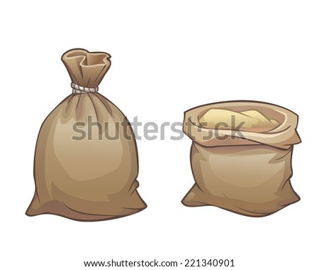 Full sack open and close isolated on white background