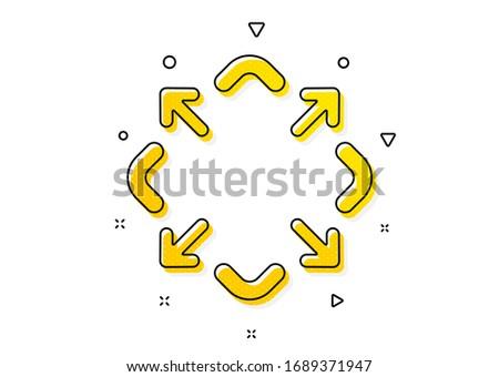 Full screen symbol. Maximize arrow icon. Maximise Navigation sign. Yellow circles pattern. Classic maximize icon. Geometric elements. Vector