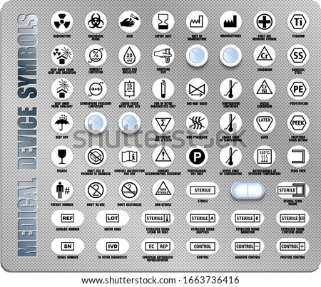 Full set of medical device packaging symbols with warning information. Medicine package black icons isolated on white. International standards ISO, ANSI, AAMI, FDA with description
