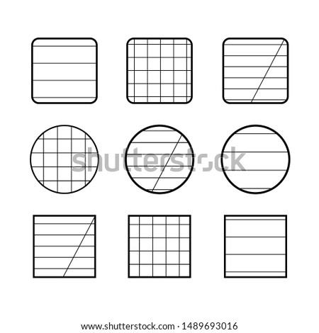 Full set of signs round, square and half-square for notebooks, squared or in line - vector illustration