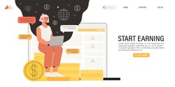 Full-time freelancer working distantly from home office on laptop and earn extra money by doing project on freelance platform or website. Online chat with fellow distant workers, partner or employer.