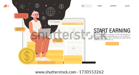 Full-time freelancer working distantly from home office on laptop and earn extra money by doing project on freelance platform or website. Online chat with fellow distant workers, partner or employer.  Stock photo ©
