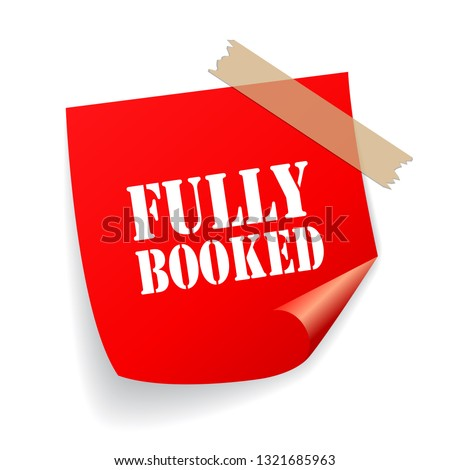 fully booked red vector sticker