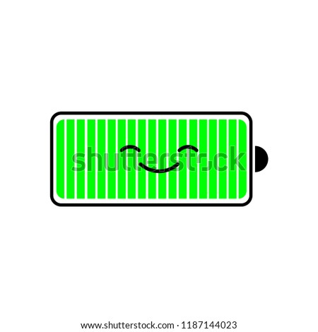 Fully charged battery smartphone, charge level indicators. Funny character. Vector cartoon flat design