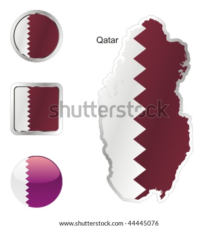 fully editable flag of qatar in map and internet buttons shape