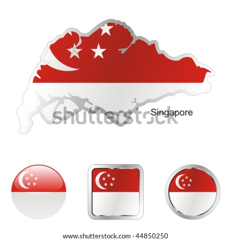 fully editable flag of singapore in map and internet buttons shape