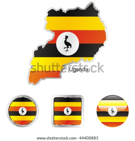fully editable flag of uganda in map and internet buttons shape