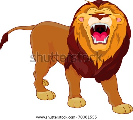 fully editable illustration of a roaring cartoon lion