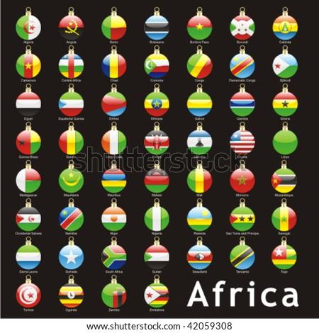 fully editable isolated african flags in christmas bulbs shape - stock vector