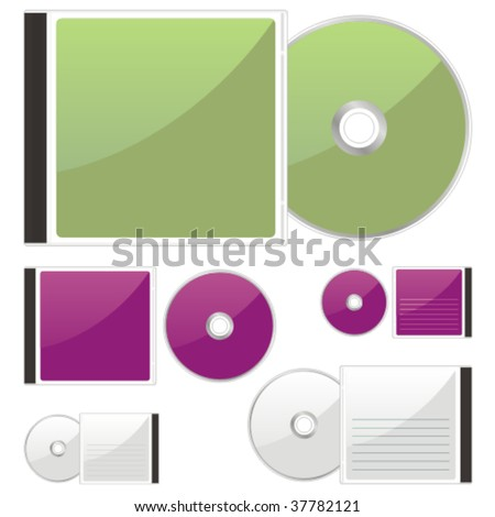 fully editable vector colored CDs and cases ready to use