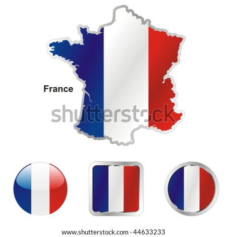 fully editable vector flag of france in map and web buttons shapes