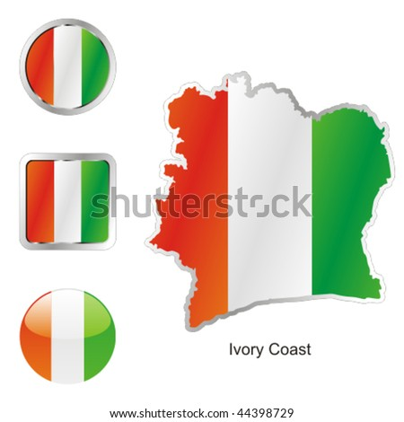 map of ivory coast. flag of ivory coast in map