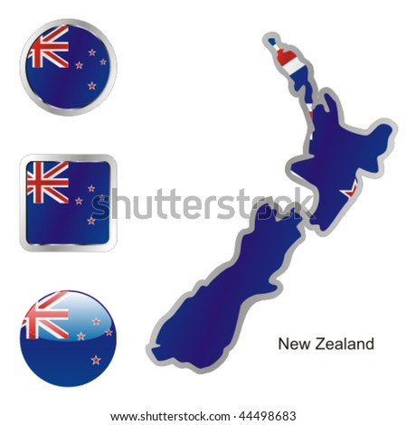 fully editable vector flag of new zealand in map and web buttons shapes