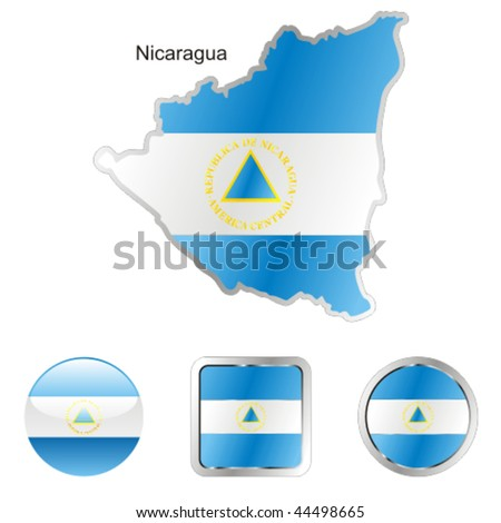 fully editable vector flag of nicaragua in map and web buttons shapes