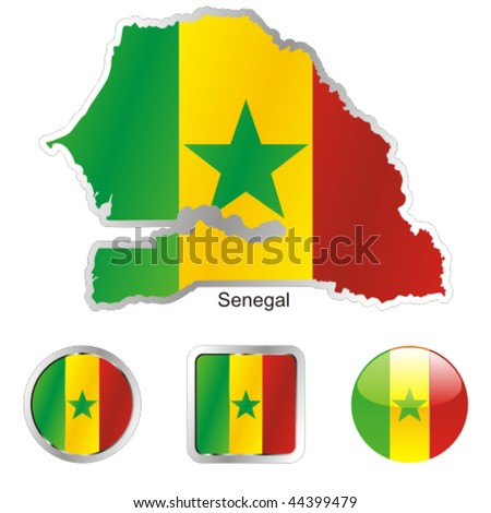 fully editable vector flag of senegal in map and web buttons shapes