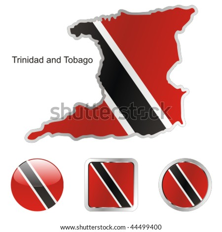 fully editable vector flag of trinidad and tobago  in map and web buttons shapes