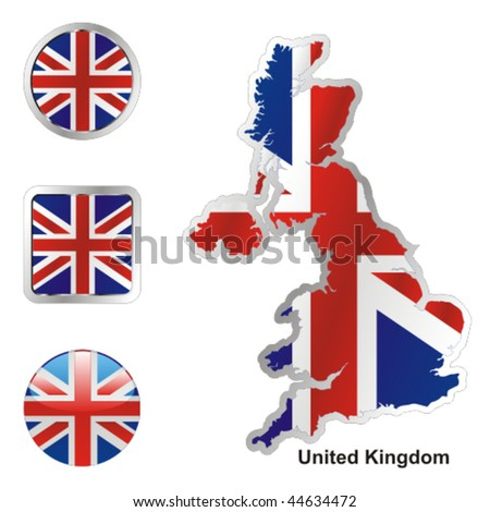 fully editable vector flag of united kingdom in map and web buttons shapes