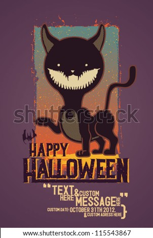 Fully editable vector illustration of a cat wanting you happy Halloween!