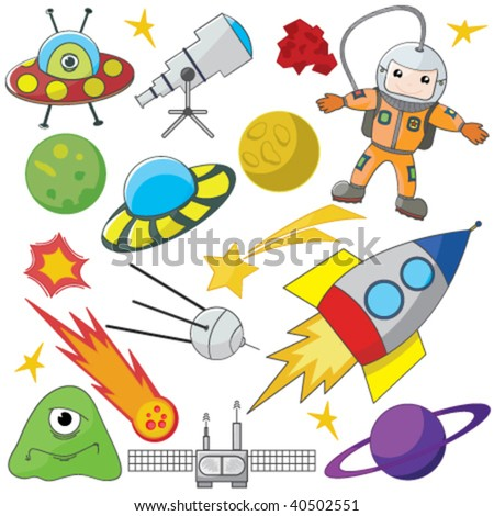 Fully editable vector illustration of a collection of space elements