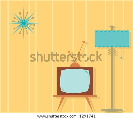 Fully editable vector illustration of a retro style TV room.