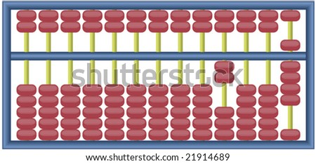 Fully editable vector illustration of an abacus with numbers adding up to 2009