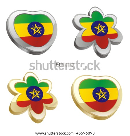 fully editable vector illustration of ethiopia flag in heart and flower shape