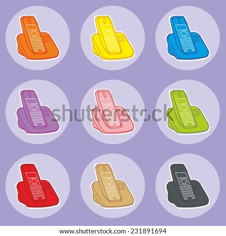 fully editable vector illustration of home phones