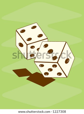 Fully editable vector illustration of retro styled dice. - stock vector