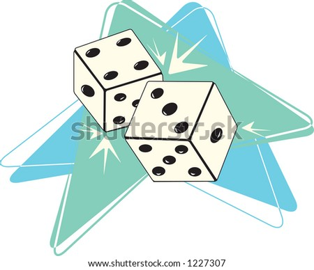 Fully editable vector illustration of retro styled dice on a boomerang backdrop