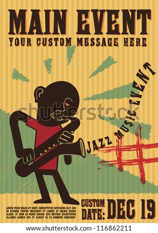Fully editable vector illustration of saxophone player, good for event background