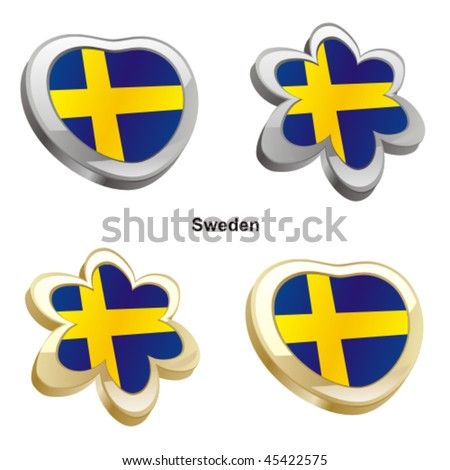 fully editable vector illustration of sweden flag in heart and flower shape