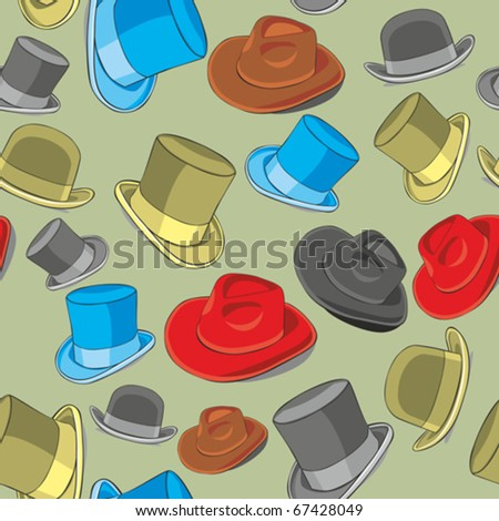fully editable vector illustration seamless pattern isolated hats