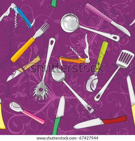 fully editable vector illustration seamless with kitchen tools #67427944