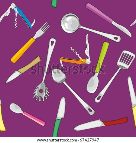 fully editable vector illustration seamless with kitchen tools #67427947