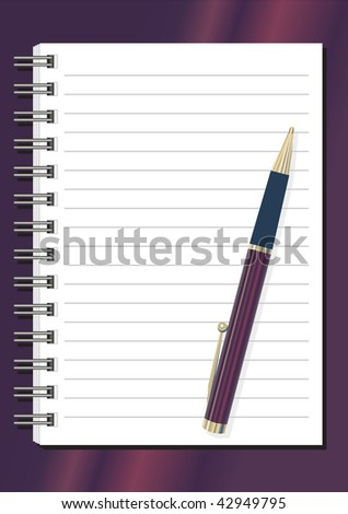 fully editable vector of notepad and pen