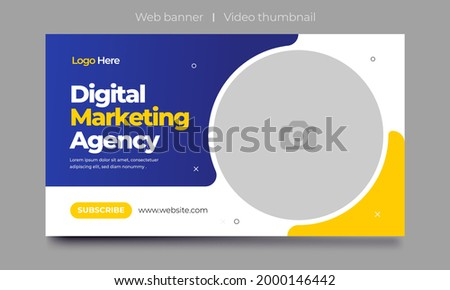 Fully Editable video thumbnail design for opening video tutorials. Customizable thumbnail for live workshop business and webinar. web banner template. Video cover photo for video services, internet