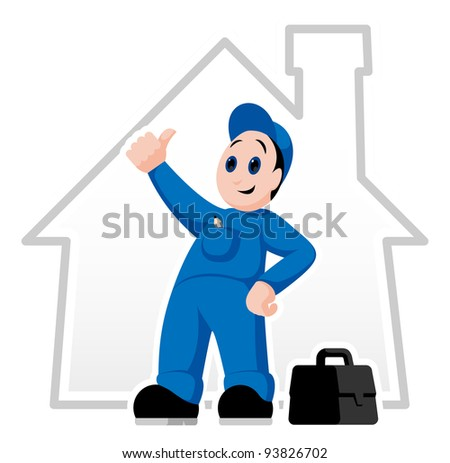 Fully equipped handyman with thumb up and suitcase
