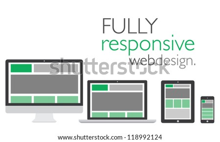 Fully responsive web design in electronic icon devices vector eps10