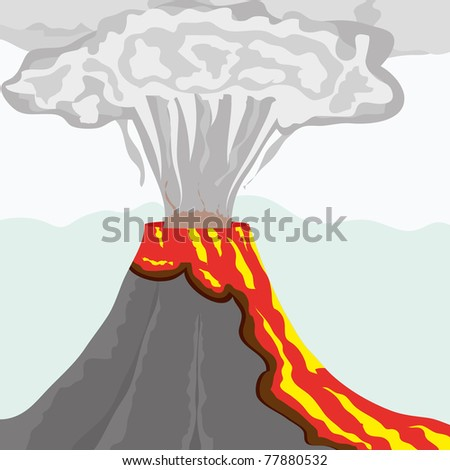 fuming volcano with fiery lava