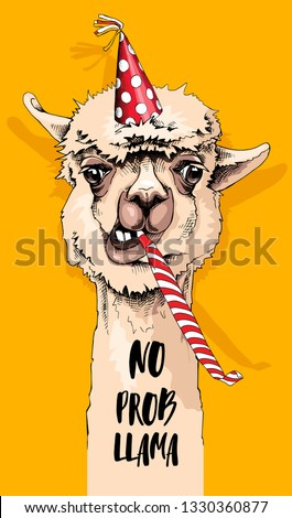 Fun Alpaca in a polka dot party hat, and with a red whistle blowing. No prob llama - lettering quote. Happy Birthday humor card, t-shirt composition, hand drawn style print. Vector illustration.