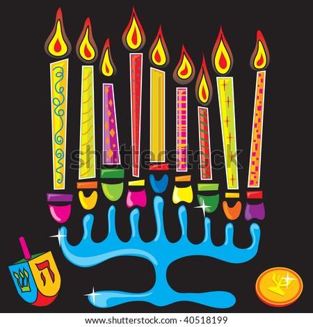 Fun and colorful menorah