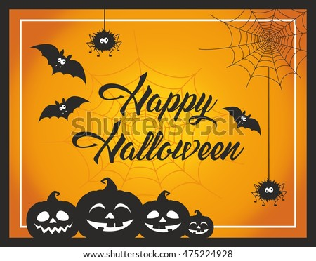 Fun and cute cartoon Halloween post card with pumpkins, spider, bats and web. Happy Halloween greeting card. Halloween vector illustration. Halloween background. Happy Halloween text.