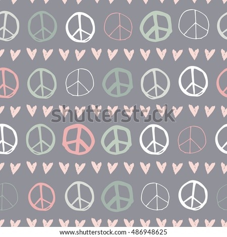 Fun and Cute Peace Sign & Hearts Seamless Repeat Background - Neon Colour Palette