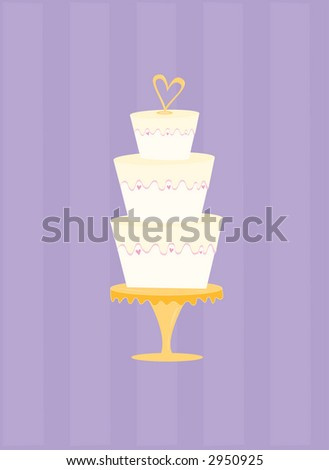 stock vector Fun and festive wedding cake with heartshaped topper May be