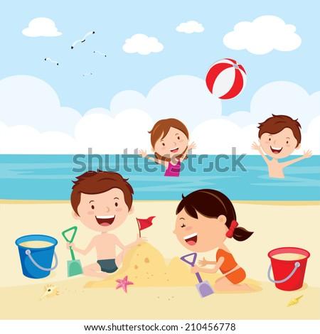 fun at the beach happy kids