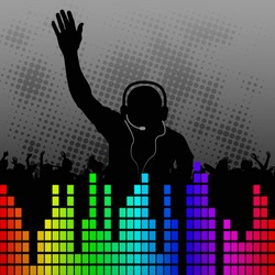 fun background with silhouette DJ