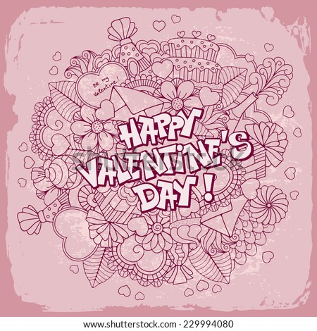 Fun, bright and original Valentines day greeting, made in the doodle style. Vector.