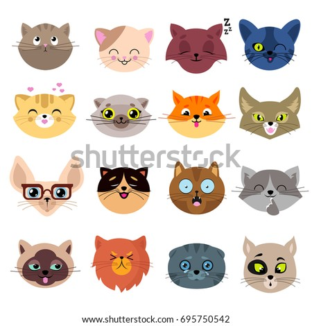 Stock Photo Fun cartoon cat faces. Cute kitten portraits vector set. Cartoon cats animal face illustration