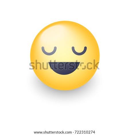 Fun cartoon emoji smiley icon face. Happy smiling vector emoticon with closed eyes.